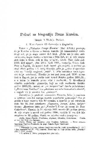 Prilozi za biografiju Frana Kurelca / Vladoje Dukat