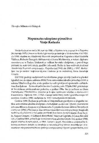 Nepoznato rukopisno pjesništvo Vanje Radauša / Hrvojka Mihanović-Salopek