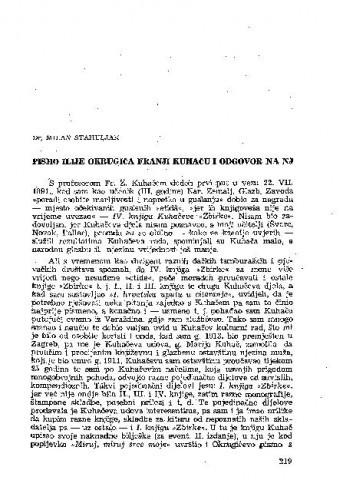 Pismo Ilije Okrugića Franji Kuhaču i odgovor na nj / [priredio] Milan Stahuljak