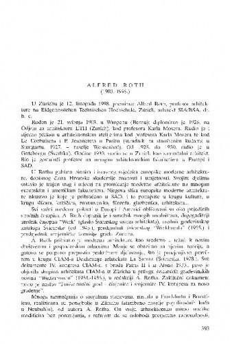 Alfred Roth (1903.-1998.) / Miroslav Begović