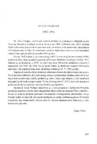 Alojz Finžgar : (1902.-1994.) / Eugen Pusić