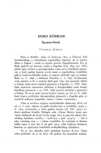 Đuro Körbler : spomen-listak / V. Dukat