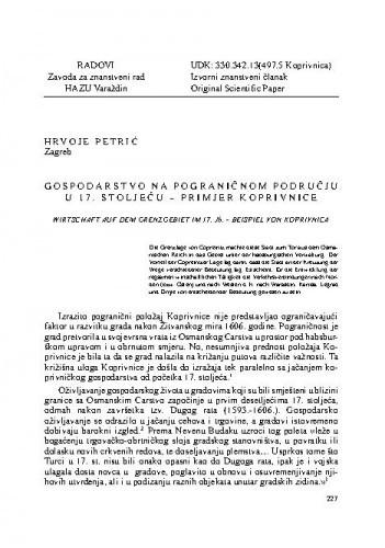Gospodarstvo na pograničnom području u 17. stoljeću - primjer Koprivnice / Hrvoje Petrić