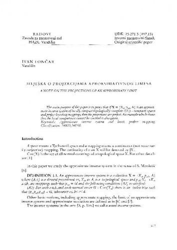 Bilješka o projekcijama aproksimativnog limesa / Ivan Lončar