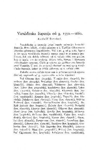 Varaždinska županija od g. 1550.-1660. / R. Strohal