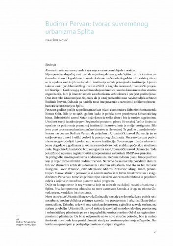 Budimir Pervan: tvorac suvremenog urbanizma Splita / Ivan Šimunović
