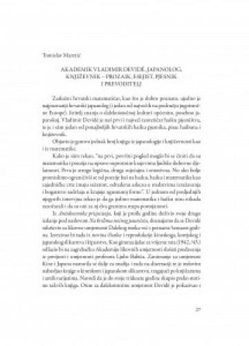 Akademik Vladimir Devidé, japanolog, književnik - prozaik, esejist, pjesnik i prevoditelj / Tomislav Maretić