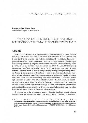 Postupak dodjele koncesije za luku nautičkog turizma u hrvatskom pravu / Iva Tuhtan Grgić