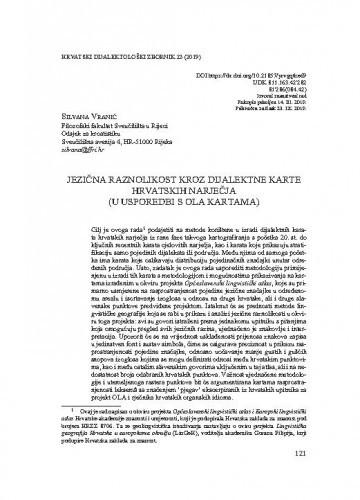 Jezična raznolikost kroz dijalektne karte hrvatskih narječja (u usporedbi s OLA kartama) / Silvana Vranić