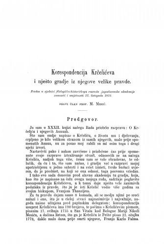 Korespondencija Krčelićeva i nješto gradje iz njegove velike pravde / Matija Mesić