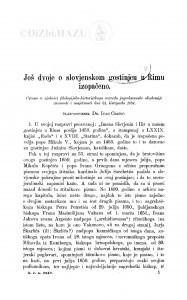 Još dvoje o slovjenskom gostinjcu u Rimu izopačeno / I. Črnčić