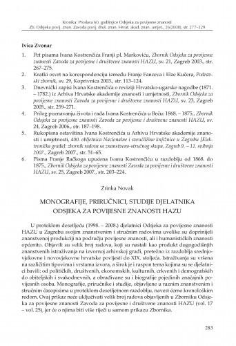 Monografije, priručnici, studije djelatnika Odsjeka za povijesne znanosti HAZU / Zrinka Novak