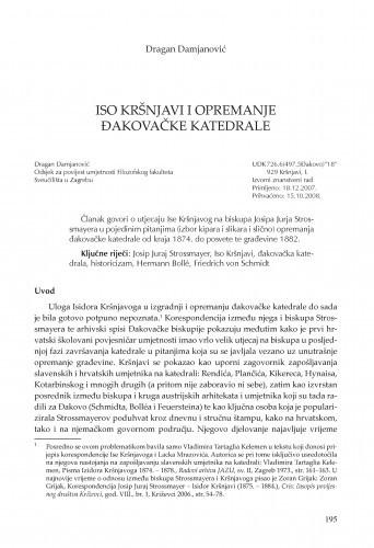 Iso Kršnjavi i opremanje đakovačke katedrale / Dragan Damjanović