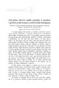 Još jedna rukovet naših paralela k rimskim i grčkim poslovicama i poslovičnim izričajima / I. Kasumović