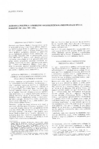 Agrarna politika i problemi socijalističkog preobražaja sela u Baranji od 1945-1953. / Slavko Juriša