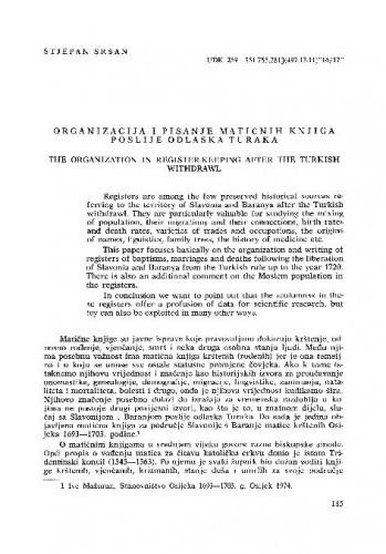Organizacija i pisanje matičnih knjiga poslije odlaska Turaka / Stjepan Sršan