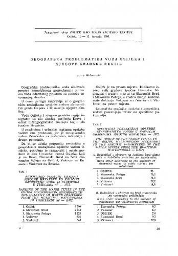 Geografska problematika voda Osijeka i njegove gradske regije / J. Riđanović