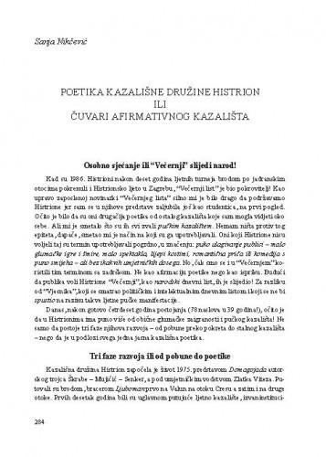 Poetika Kazališne družine Histrion ili čuvari afirmativnog kazališta / Sanja Nikčević