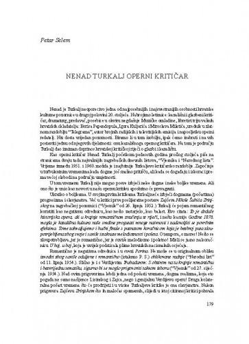 Nenad Turkalj operni kritičar / Petar Selem