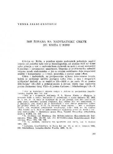 Ime župana u nadvratniku crkve sv. Križa u Ninu / Vesna Jakić-Cestarić