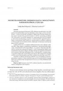 Neurotransmitori, hormon rasta i mogućnosti farmakološkog utjecaja / Lidija Bach-Rojecky, Zdravko Lacković