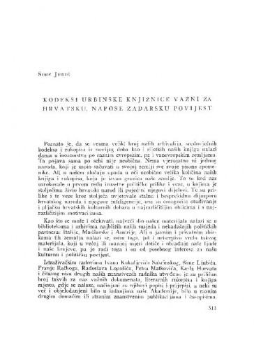 Kodeksi urbinske knjižnice važni za hrvatsku, napose zadarsku povijest / Šime Jurić