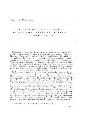 Kalendarski zbornici Matice dalmatinske i Hrvatske knjižarnice u Zadru : (1863-1910) / Vjekoslav Maštrović