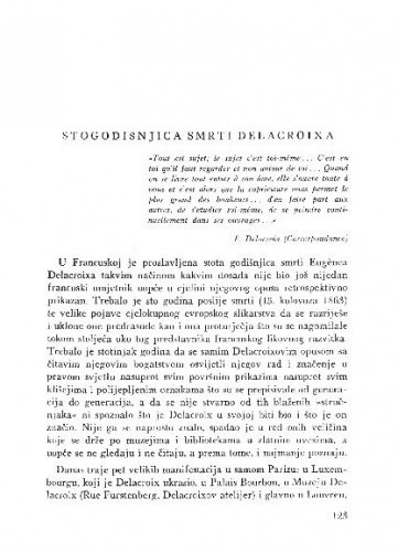 Stogodišnjica smrti Delacroixa / Lj. B.