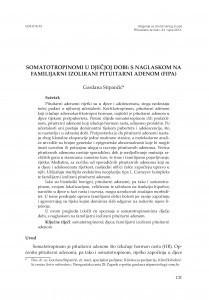 Somatotropinomi u dječjoj dobi : s naglaskom na familijarni izolirani pituitarni adenom (FIFA) / Gordana Stipančić