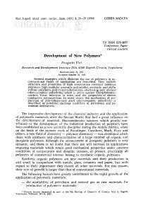 Development of new polymers / D. Fleš