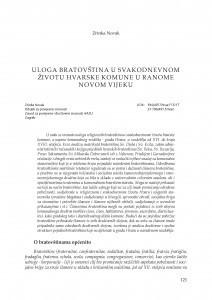 Uloga bratovština u svakodnevnom životu hvarske komune u ranome novom vijeku / Zrinka Novak