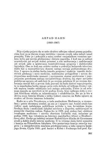 Arpad Hahn (1903-1967). Radovi Arpada Hahna : [nekrolog] / B. Gušić
