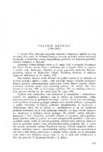 Velimir Kranjec (1930.-2002.) : [in memoriam] / Branko Sokač