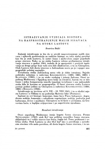 Istraživanje utjecaja biotopa na rasprostranjenje malih sisavaca na otoku Lastovu / B. Đulić