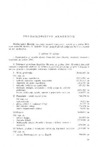 Izvješće o radu Hrvatske akademije znanosti i umjetnosti u godini 2001.