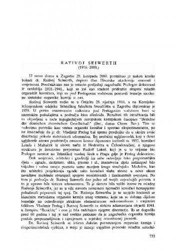 Rativoj Seiwerth (1916.-2000.) / Emerik Dionis Sunko