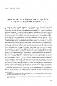 Predodžba djela Andrije Kačića Miošića u povijestima hrvatske književnosti / Anđela Vukasović Korunda