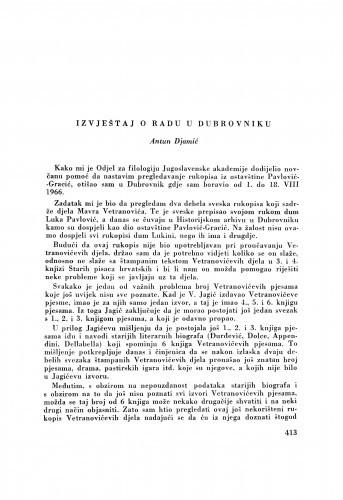 Izvještaj o radu u Dubrovniku / A. Djamić