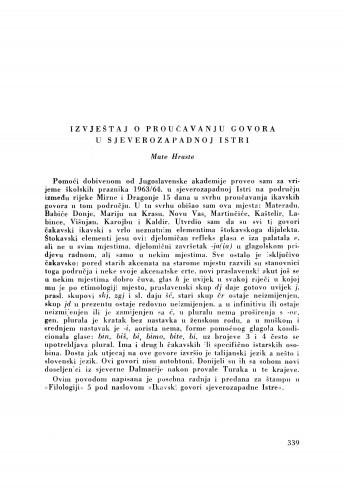 Izvještaj o proučavanju govora u sjeverozapadnoj Istri / M. Hraste