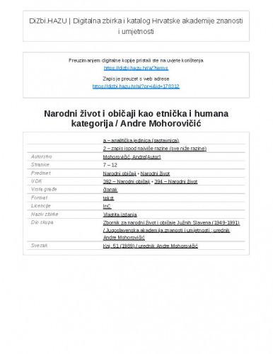 Narodni život i običaji kao etnička i humana kategorija / Andre Mohorovičić