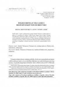 Posjed obitelji Volcassio u srednjovjekovnom Dubrovniku / Irena Benyovsky Latin, Stipe Ledić