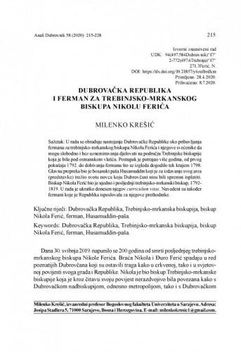 Dubrovačka Republika i ferman za trebinjsko-mrkanskog biskupa Nikolu Ferića / Milenko Krešić