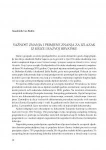 Važnost znanja i primjene znanja za izlazak iz krize i razvoj Hrvatske : [uvodno izlaganje] / Leo Budin