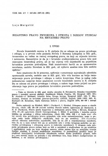 Bizantsko pravo prvokupa i otkupa i njegov utjecaj na hrvatsko pravo / Lujo Margetić