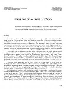 Herbarijska zbirka Franje pl. Košćeca / Barbara Hadeljan