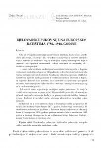 Bjelovarske pukovnije na europskim ratištima 1756.-1918. godine / Željko Pleskalt