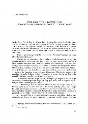 Josip Broz Tito - počasni član Jugoslavenske akademije znanosti i umjetnosti / J. Sirotković