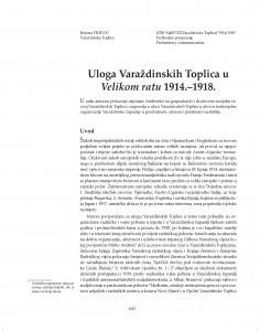 Uloga Varaždinskih Toplica u Velikom ratu 1914.-1918. / Božena Filipan