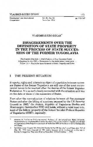 Disagreements over the Definition of State Property in the Process of State Succession of the Former Yugoslavia / Vladimir-Djuro Degan