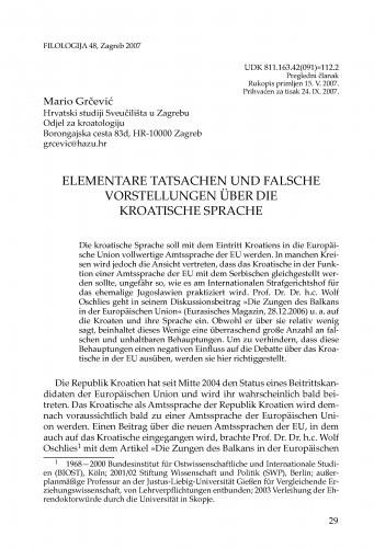 Elementare Tatsachen und falsche Vorstellungen über die kroatische Sprache / Mario Grčević